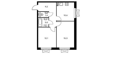 2-комнатная квартира, 51.6 м<sup>2</sup>, 4 этаж