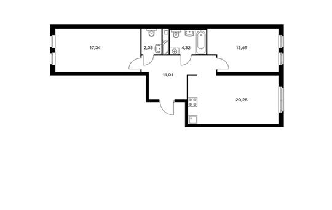 2-комнатная квартира, 68.99 м<sup>2</sup>, 9 этаж