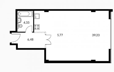 1-комнатная квартира, 57 м<sup>2</sup>, 25 этаж