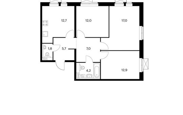 3-комнатная квартира, 73.3 м<sup>2</sup>, 20 этаж