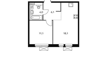 1-комнатная квартира, 37.9 м<sup>2</sup>, 16 этаж
