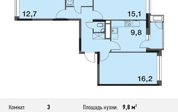 3-комнатная квартира, 69.4 м<sup>2</sup>, 13 этаж