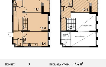 3-комнатная квартира, 80.8 м<sup>2</sup>, 16 этаж