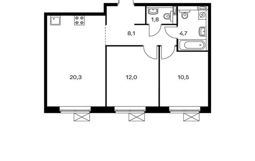 2-комнатная квартира, 57.4 м<sup>2</sup>, 16 этаж