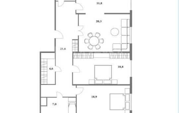 3-комнатная квартира, 111 м<sup>2</sup>, 3 этаж