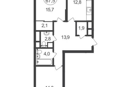 2-комнатная квартира, 67.5 м2, 2 этаж