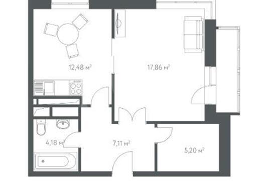 1-комнатная квартира, 47.8 м<sup>2</sup>, 3 этаж