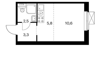 1-комнатная квартира, 23.7 м<sup>2</sup>, 2 этаж_1