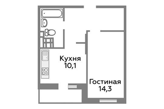 1-комн квартира, 39.4 м2, 16 этаж
