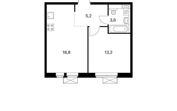 1-комнатная квартира, 41.2 м<sup>2</sup>, 14 этаж_1
