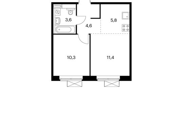 2-комнатная квартира, 36.3 м<sup>2</sup>, 7 этаж