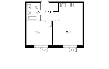 1-комнатная квартира, 44.6 м<sup>2</sup>, 12 этаж