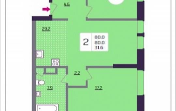2-комнатная квартира, 80 м<sup>2</sup>, 10 этаж