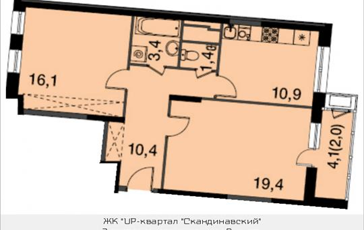 2-комнатная квартира, 63.6 м<sup>2</sup>, 9 этаж