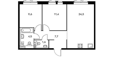 2-комнатная квартира, 56.2 м<sup>2</sup>, 19 этаж