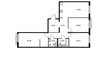 3-комнатная квартира, 92.23 м<sup>2</sup>, 10 этаж