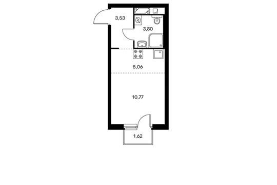 1-комнатная квартира, 23.65 м<sup>2</sup>, 4 этаж