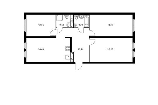 3-комнатная квартира, 92.19 м<sup>2</sup>, 4 этаж