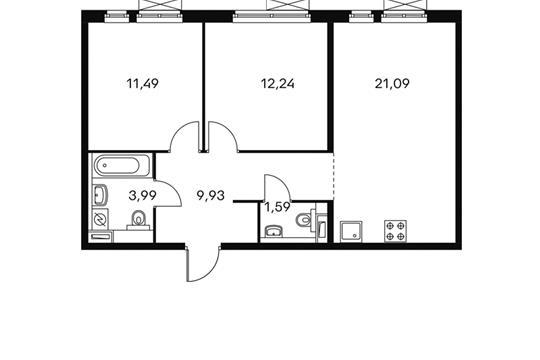2-комнатная квартира, 60.25 м<sup>2</sup>, 8 этаж