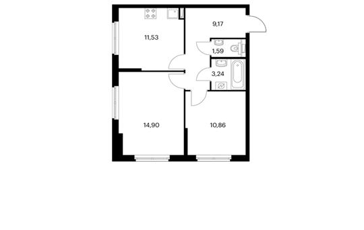 2-комнатная квартира, 51.77 м<sup>2</sup>, 1 этаж