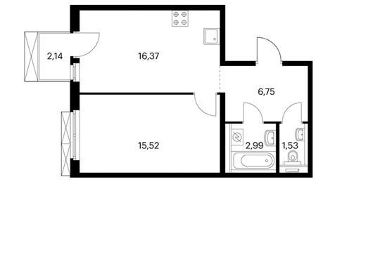 1-комнатная квартира, 44.5 м<sup>2</sup>, 4 этаж