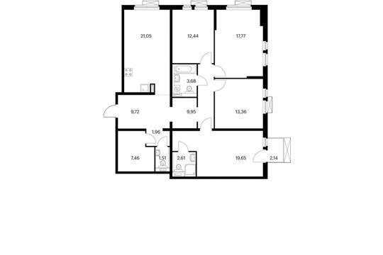 4-комнатная квартира, 121.8 м<sup>2</sup>, 12 этаж