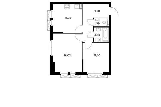 2-комнатная квартира, 53.46 м<sup>2</sup>, 2 этаж