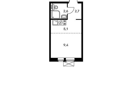 1-комнатная квартира, 19.8 м<sup>2</sup>, 24 этаж