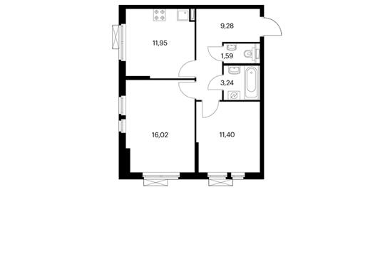 2-комнатная квартира, 53.47 м<sup>2</sup>, 13 этаж