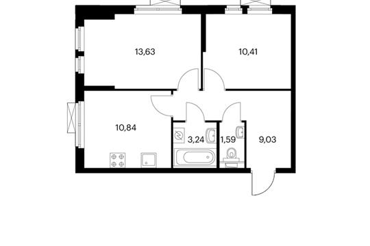2-комнатная квартира, 48.74 м<sup>2</sup>, 12 этаж