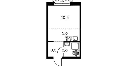 1-комнатная квартира, 21.9 м<sup>2</sup>, 2 этаж