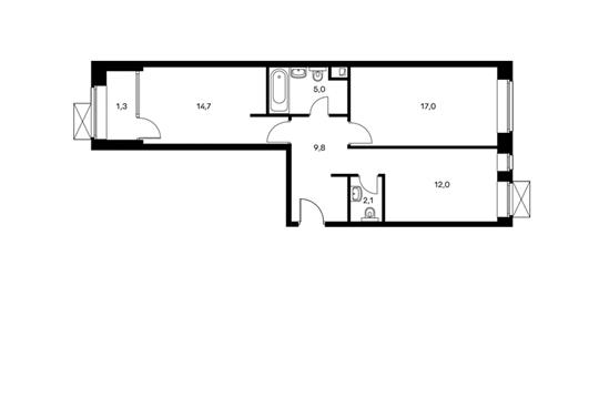 2-комнатная квартира, 61.9 м<sup>2</sup>, 2 этаж_1