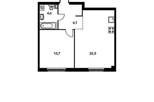 1-комнатная квартира, 46.7 м<sup>2</sup>, 17 этаж