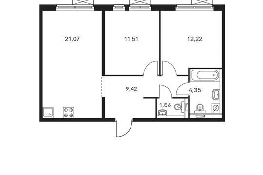 2-комнатная квартира, 60.13 м<sup>2</sup>, 12 этаж
