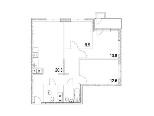 3-комнатная квартира, 75.4 м<sup>2</sup>, 13 этаж_1