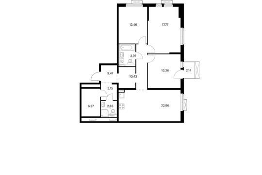 3-комнатная квартира, 97.13 м<sup>2</sup>, 13 этаж