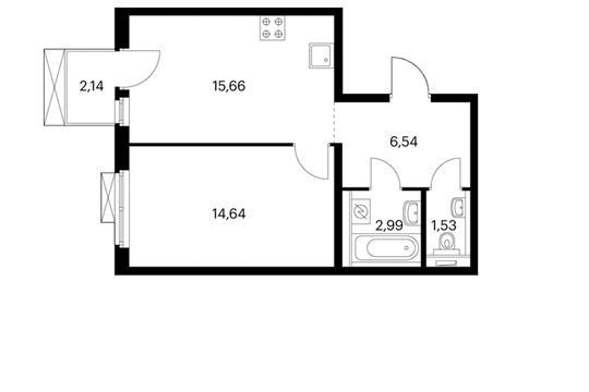 1-комнатная квартира, 42.13 м<sup>2</sup>, 9 этаж