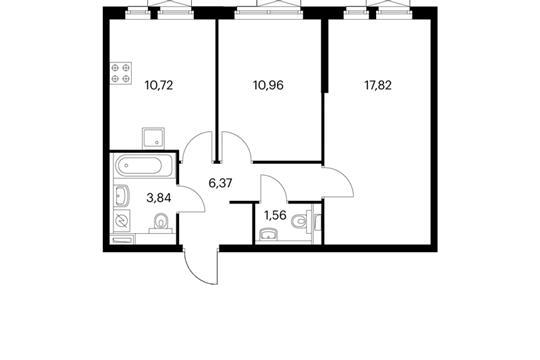 2-комнатная квартира, 51.29 м<sup>2</sup>, 10 этаж