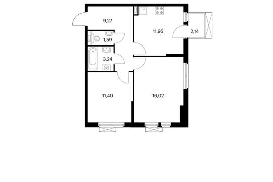 2-комнатная квартира, 54.11 м<sup>2</sup>, 13 этаж