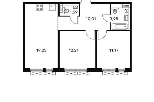 2-комнатная квартира, 58.32 м<sup>2</sup>, 2 этаж