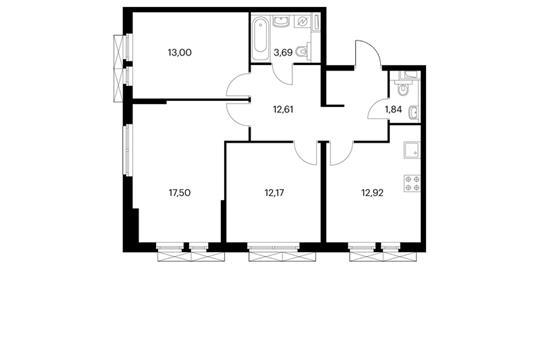 3-комнатная квартира, 73.81 м<sup>2</sup>, 2 этаж