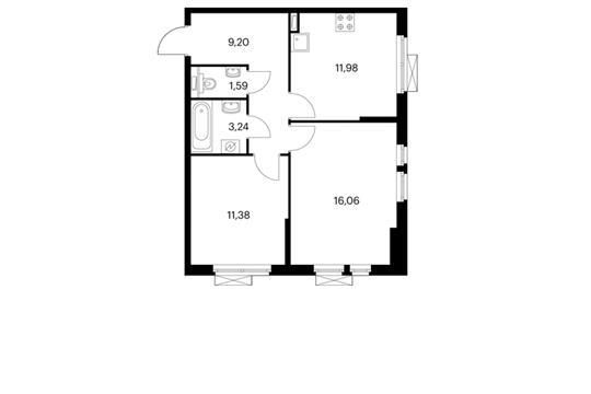 2-комнатная квартира, 53.45 м<sup>2</sup>, 2 этаж