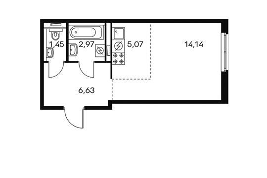 1-комнатная квартира, 29.86 м<sup>2</sup>, 1 этаж
