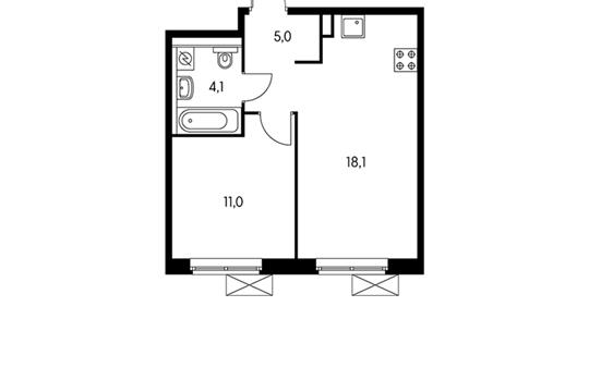 1-комнатная квартира, 38.2 м<sup>2</sup>, 5 этаж