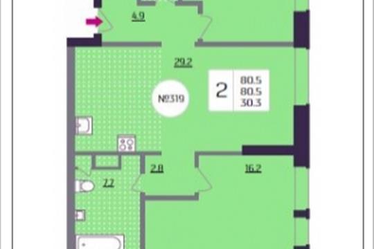 2-комнатная квартира, 80.5 м<sup>2</sup>, 11 этаж