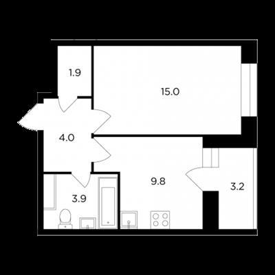 1-комн квартира, 36.2 м<sup>2</sup>, 14 этаж_1