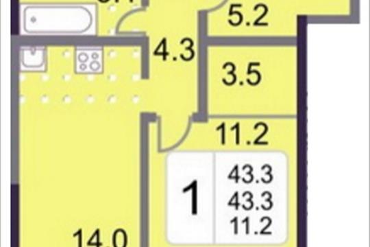 1-комнатная квартира, 43.3 м<sup>2</sup>, 19 этаж
