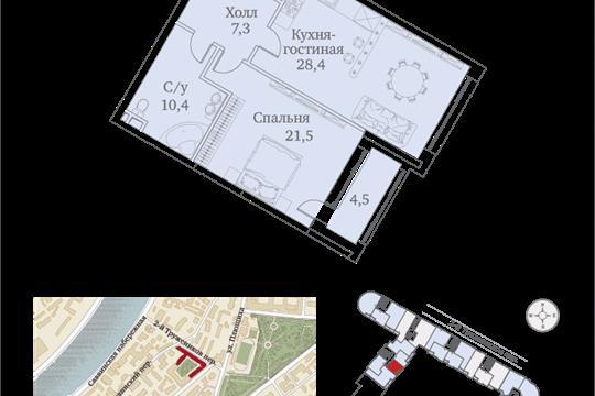 1-комнатная квартира, 75 м<sup>2</sup>, 4 этаж