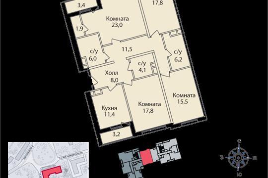 4-комнатная квартира, 128 м2, 2 этаж