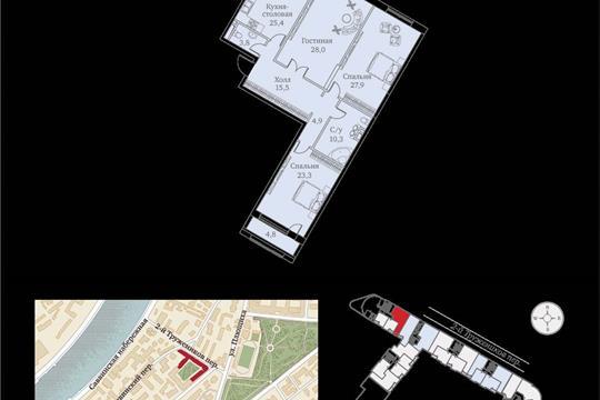 1-комнатная квартира, 146 м<sup>2</sup>, 2 этаж